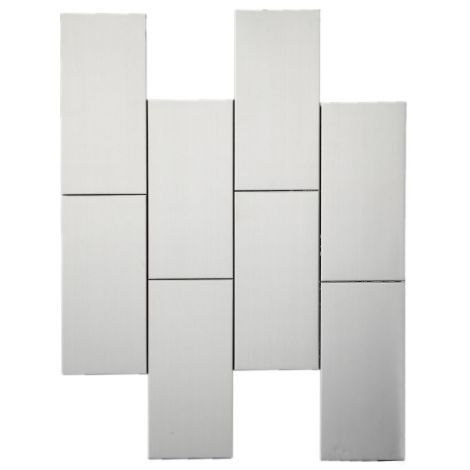 3D Stainless Steel Mosaic Tile Rectangle  Silver