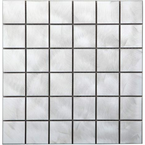 Brushed Square Stainless Steel Mosaic Tile Silver