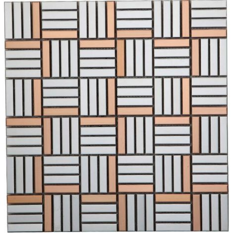 Golden and Silver Stainless Steel Mosaic Tile Rectangle
