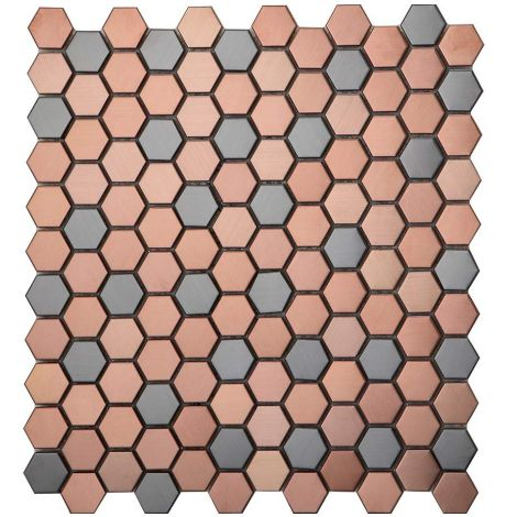 Rose Gold and Black Mosaic Tile Bathroom Kitchen Backsplash Feature Wall Small Hexagon