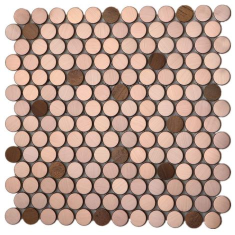 Rose Golden and Copper Stainless Steel Mosaic Tile Round