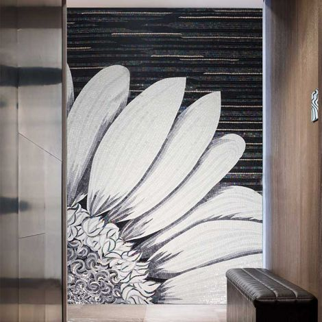 Sun Flower Handcrafted Glass Mosaic Art Feature Wall Decor Black and White Background 0.1Sq.M(1.07Sq.Ft)