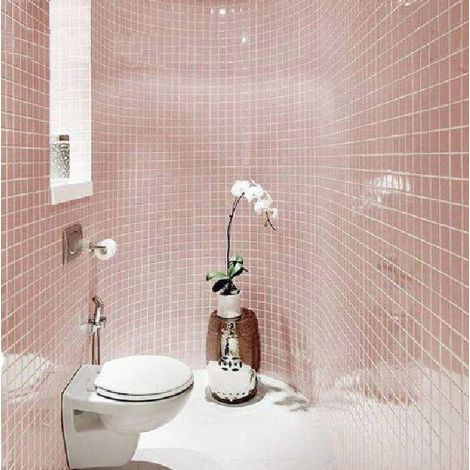 Pink Porcelain Mosaic Tile Square Pink Bathroom
