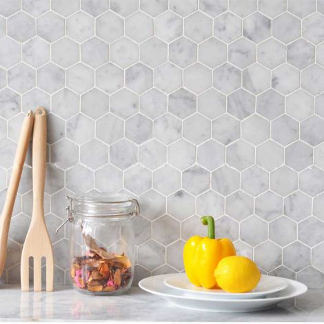Carrara White Marble Stone Mosaic Tile Bath Wall and Floor Kitchen Backsplash Hexagon