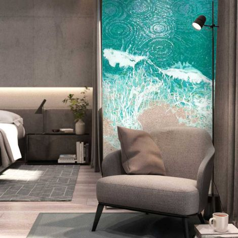 Seashore Glass Mosaic Art Feature Wall Background 0.1Sq.M(1.07Sq.Ft)