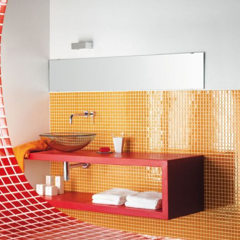 Orange Crystal Glass Mosaic Tile Square