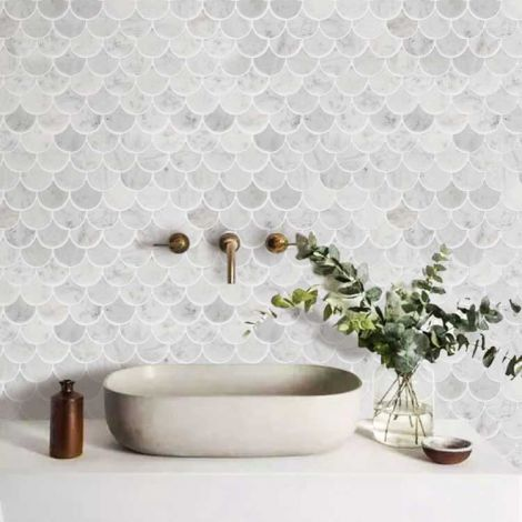 Scallop Shell Mermaid Tile Marble Stone Mosaic Tile Kitchen Backsplash Bath Wall and Floor Carrara White