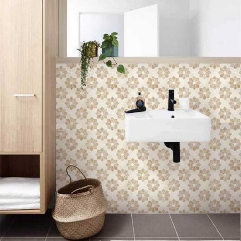 Flower Pattern Beige Marble Stone Bath Wall and Floor Mosaic Tile Kitchen Backsplash
