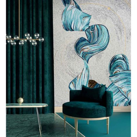 Modern Abstraction Glass Mosaic Art Feature Wall White and Blue Background 0.1Sq.M(1.07Sq.Ft)
