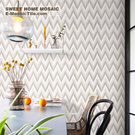 Herringbone Marble Mosaic Tile Gradient Warm Color