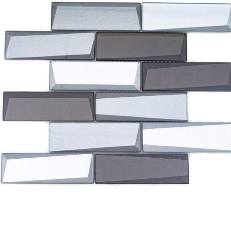 Crystal Glass Mosaic Tile Square Silver and Brown Back-Beveled Glossy 48x148mm