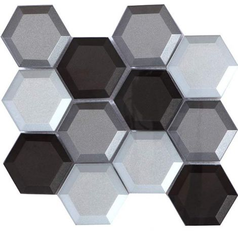 Crystal Glass Mosaic Tile Hexagon Silver and Brown Back-Beveled Glossy 73mm