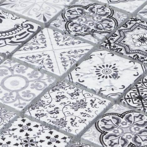 Black and White Moroccan Travertine Stone Mosaic Tile Big Chip