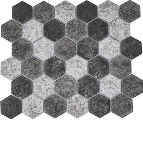 Matte Ceramic Mosaic Tile Hexagon Deep Green and Beige 51x59mm