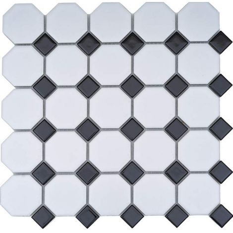 Classic Ceramic Mosaic Tile Octagon White and Square Black