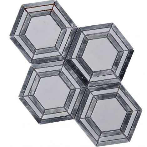 Marble Mosaic Tile Grey White Hexagon Honed
