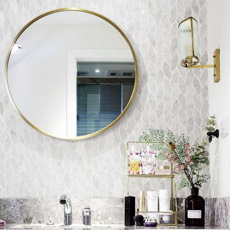 Leaf Pattern Carrara White Marble Stone Bath Wall and Floor Mosaic Tile Kitchen Backsplash