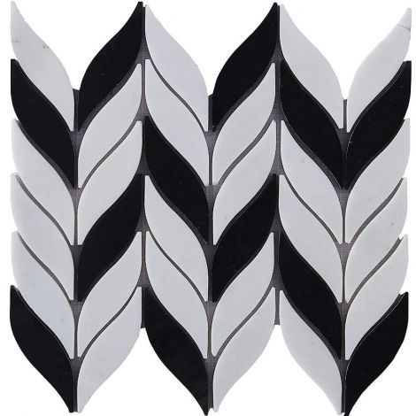 Leaf Pattern Marble Mosaic Tile Black And White