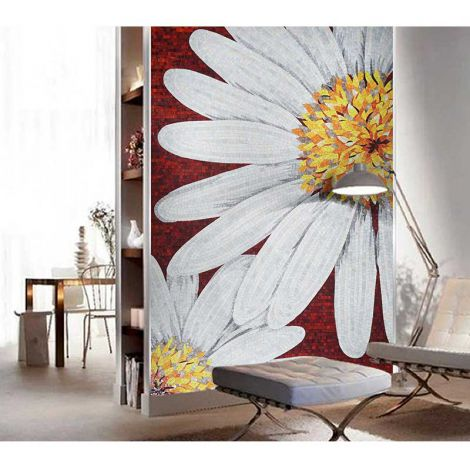 Sun Flower Handcrafted Glass Mosaic Art Feature Wall Decor Red Background 0.1Sq.M(1.07Sq.Ft)