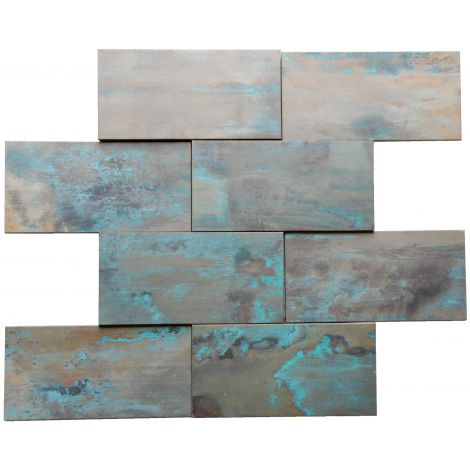 3D Patina Copper Brick Tile Fireplace Stair Riser Feature Wall Decor