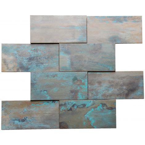 3D Patina Copper Brick Tile Fireplace Stair Riser Feature Wall Decor