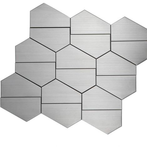Stainless Steel Mosaic Tile Multi-Shape  Silver Draw