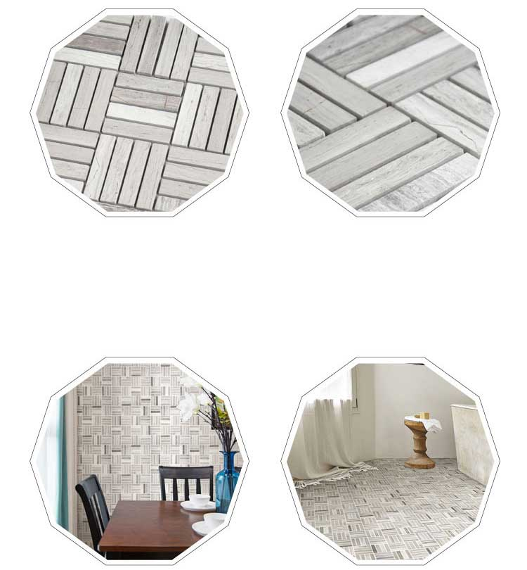 Rectangle Grey Marble Stone Bath Wall And Floor Mosaic
