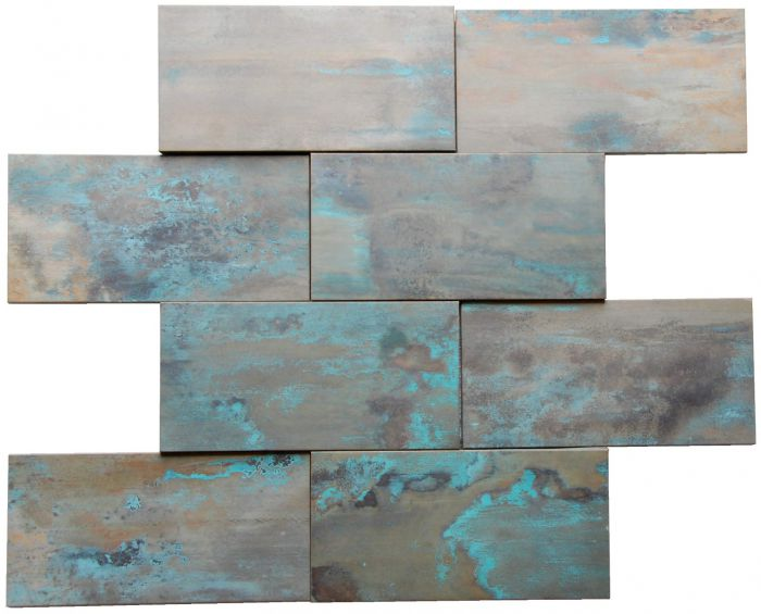 Patina Copper Brick Tile Fireplace Stair Riser Feature Wall Decor